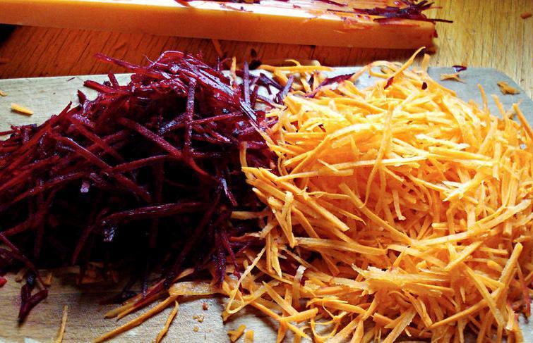 тертая морковь и свекла для салата Чафан