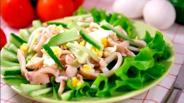 Овощные салаты рецепты с фото простые и вкусные, с кальмаром и огурцом