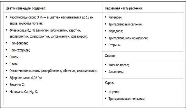 Химический состав календулы