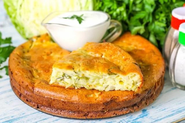 Заливной пирог с капустой: рецепт на сметане