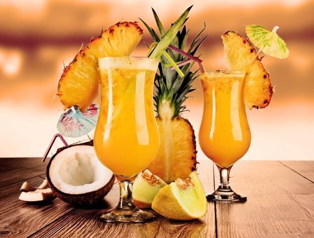 Постный ананасово-кокосовый коктейль на новый год.