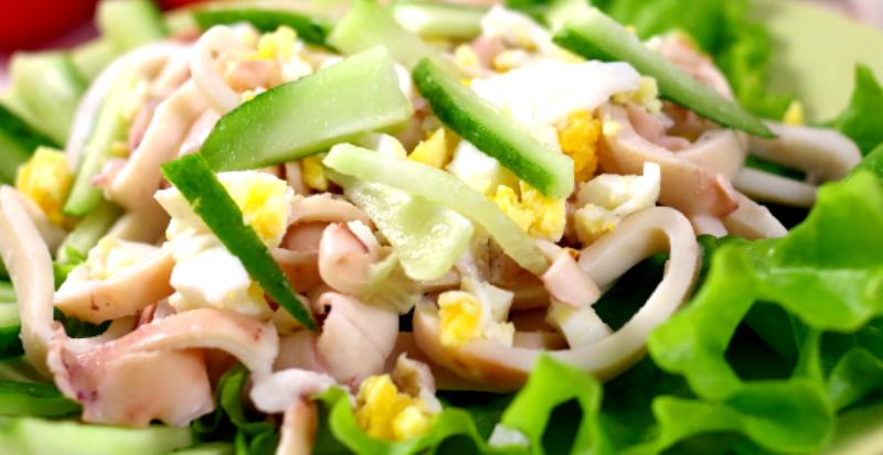 салат из кальмара огурца яиц